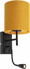 LED Applique noire avec abat-jour jaune velours -
