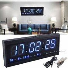 LED Horloge Murale Montre Quartz Date Température