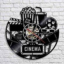 LED Noir Glock 3D Horloge Murale Vintage Théâtre