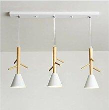 LED Plafonnier Lustre moderne Simple Bois Art