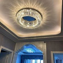 LED salon lustre En Cristal Moderne Led Lustres