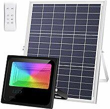 LEDMO 100W RGB Projecteur Solaire Exterieur LED