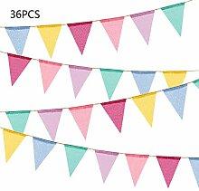 Leixi 36 Drapeaux de Triangle Multicolore en Toile