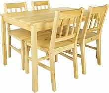 Leomark - Table en pin avec 4 chaises en bois Pine