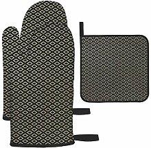 Les gants de cuisine et maniques à motif doré