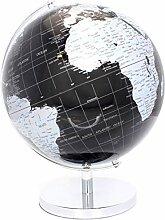 Lesser & Pavey Globe terrestre, Argenté/Noir, 34cm