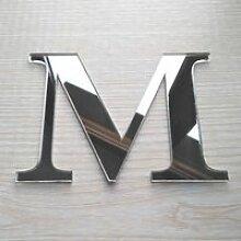 Lettres  Miroir Adhésif - Lettre M - Dimensions