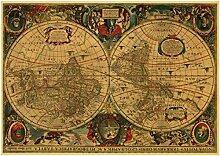 LGYJAL Style Rétro La Carte du Monde Affiche HD