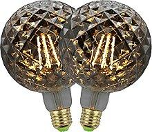 LHY LOFT Lot de 2 Ampoules Edison, Gris fumée