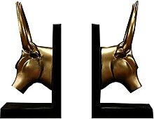 LICHUAN Golden Bull Bookend Resine Décoratif