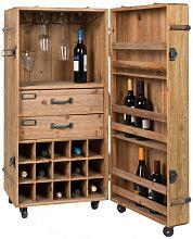 LICO - Meuble Bar en bois avec roulettes