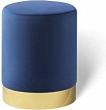 LIFA LIVING Pouf Velours Bleu Royal, Petit