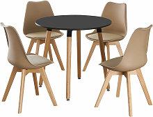 Life Interiors - Table Ronde Noire + 4 Chaises