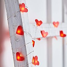 Lights4fun Guirlande Lumineuse 20 Cœurs Rouges à