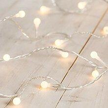 Lights4fun Guirlande Lumineuse Boule à LED Blanc