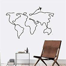 Lignes simples voyage carte du monde stickers