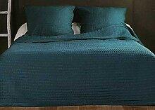 Linder Jeté de lit Bleu Canard capitonné Style