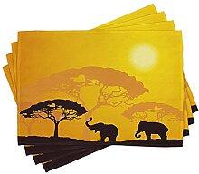 LINGF Safari Set de 4 Sets de Table,Animaux de la