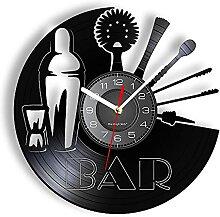 LINMING Horloge Murale en Vinyle Bar Laser Cut