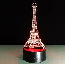 Lipenli 3D Illusion romantique France Tour Eiffel