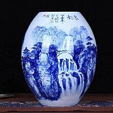 LIRONGXILY Vase De Fleurs Porcelaine Bleue Et