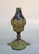 LISAQ Statue de Lampe à Huile de Lotus en Bronze