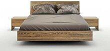 Lit avec coffre de rangement bois massif Noyer