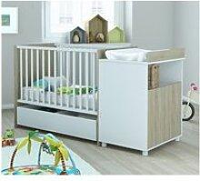 Lit bébé 60x120 avec tiroir evolutif en lit