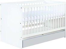 Lit bébé blanc et gris Dalia 60 cm x 120 cm Gris