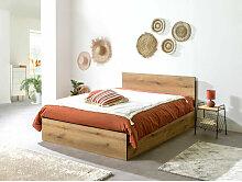 Lit coffre cm JULIEN bois rustique 140x190 - Marron