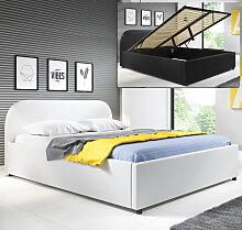 Lit coffre design Lexy – blanc (180x200cm)