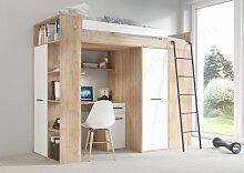Lit combiné enfant 90x200 avec bureau et armoires