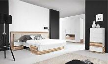 Lit design blanc et couleur bois - White