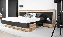 Lit design noir et couleur bois - Black