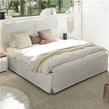 Lit double coffre blanc design DEBORAH