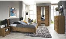Lit double design en bois, couleur gris, Gamme
