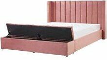 Lit double en velours rose avec banc coffre 160 x