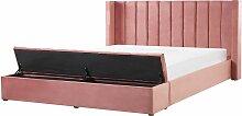 Lit double en velours rose avec banc coffre 180 x