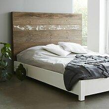 Lit en bois de pin recyclé 160x200 cm - Naturel