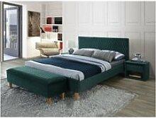 Lit en velours - azurro - l 206 x l 165 cm - vert