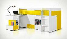 Lit enfant, etage en bois, bureau,, tiroirs,,