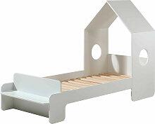 Lit maison 70x140 cm avec banc bois laqué blanc