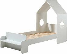 Lit maison 90x200 cm avec banc bois laqué blanc