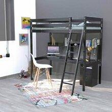 Lit mezzanine avec bureau en bois massif noir