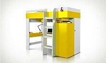 Lit mezzanine avec bureau et armoire jaune et