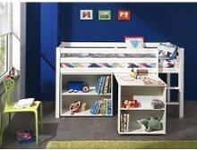 Lit mezzanine + bureau + bibliothèque blanc -PINO