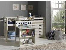 Lit mezzanine + bureau + commode 4T blanc - PINO