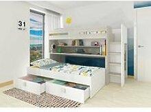 Lit mezzanine, comprend 2 couchages, un bureau, 2