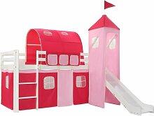 lit mezzanine d'enfants avec toboggan et