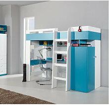 Lit mezzanine enfant en bois blanc et bleu, 1